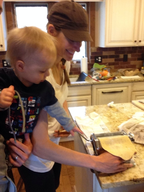 Aidan helps make ravioli