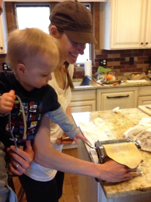 Aidan helps make ravioli